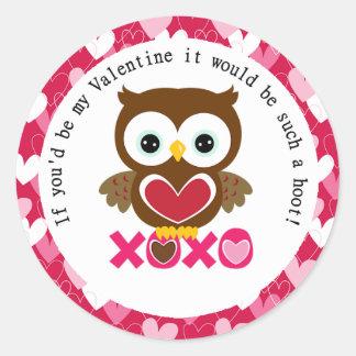 Búho de la tarjeta del día de San Valentín de Pegatina Redonda