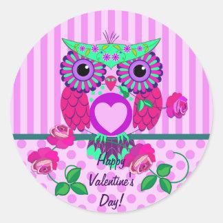 Búho de la tarjeta del día de San Valentín, rosas, Pegatina Redonda