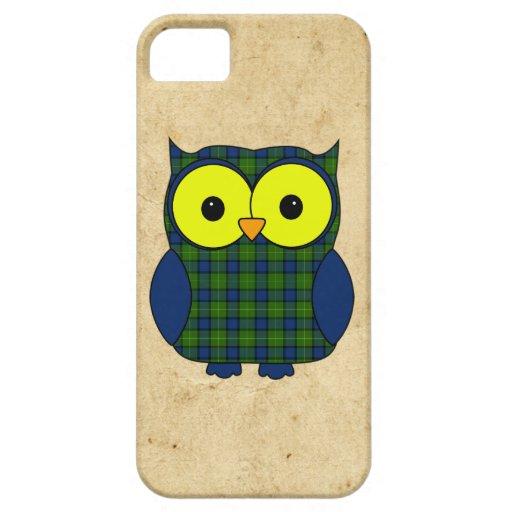 Búho de la tela escocesa de tartán de Muir iPhone 5 Cárcasa