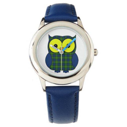 Búho de la tela escocesa de tartán de Muir Relojes De Mano