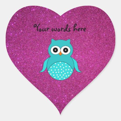 Búho de la turquesa lindo pegatina en forma de corazón