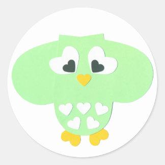 Búho de la verde menta pegatina redonda