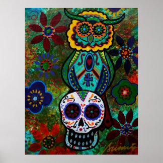 búho de los cráneos de dia de los muertos póster