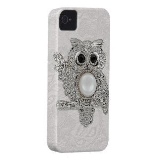 Búho de los diamantes y cordón impresos de Paisley iPhone 4 Protector