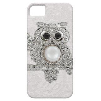 Búho de los diamantes y IMAGEN impresa del cordón iPhone 5 Fundas