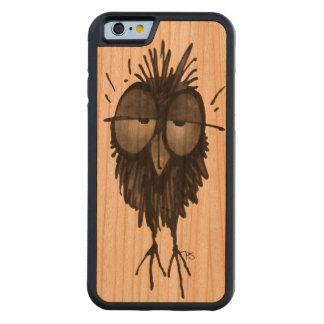 Búho de madera divertido funda de iPhone 6 bumper cerezo