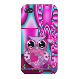 Búho de moda del amor en fondo abstracto artístico iPhone 4/4S funda