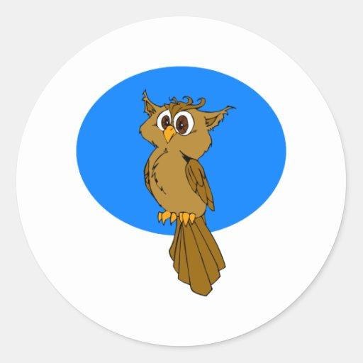 Búho de Owlie Etiqueta Redonda