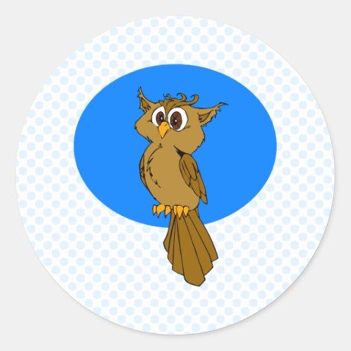 Búho de Owlie Etiquetas Redondas