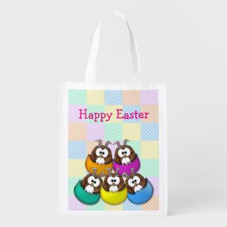 Búho de Pascua - arco iris Bolsa Para La Compra