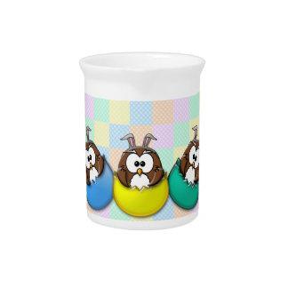 Búho de Pascua - arco iris Jarra Para Bebida