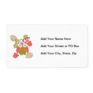Búho de pitido rojo etiquetas de envío