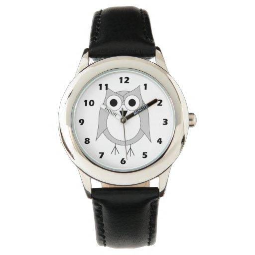Búho de plata reloj de mano