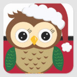 Búho de Santa del navidad Calcomanías Cuadradass Personalizadas