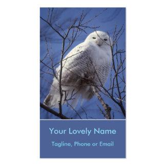 Búho de Snowy White, pájaro ártico blanco, cielo Tarjetas De Visita