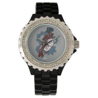 Búho de Steampunk con Tophat y el reloj de los