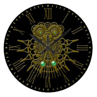 Búho de Steampunk Reloj Redondo Grande