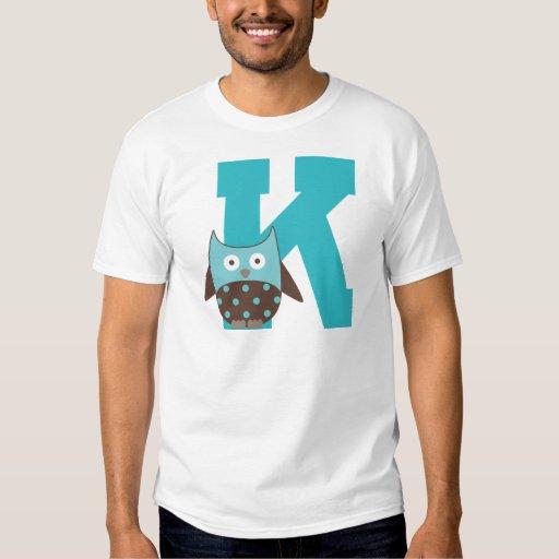 Búho del alfabeto de la letra K del monograma Remera