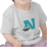 Búho del alfabeto de la letra N del monograma Camiseta
