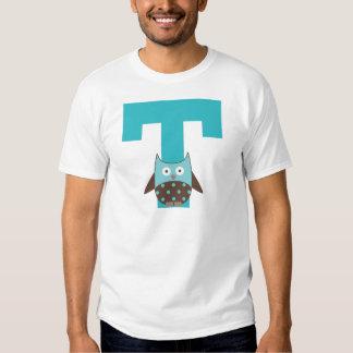 Búho del alfabeto de la letra T del monograma Polera