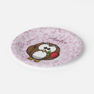 búho del amante - placas de papel platos de papel