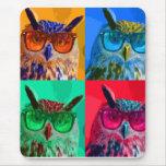 Búho del arte pop tapetes de raton