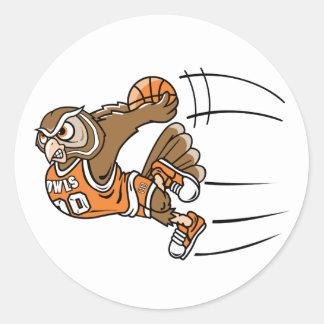 Búho del baloncesto pegatina