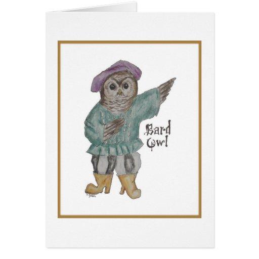 Búho del bardo tarjeta de felicitación