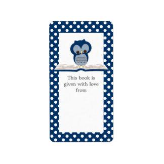 Búho del bebé azul en etiqueta del Bookplate del Etiquetas De Dirección