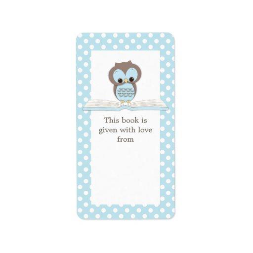 Búho del bebé azul en etiqueta del Bookplate del r Etiquetas De Dirección