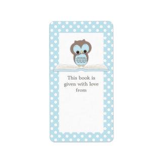 Búho del bebé azul en etiqueta del Bookplate del r Etiqueta De Dirección