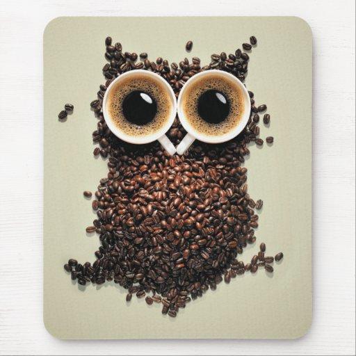 Búho del café alfombrilla de ratones
