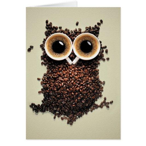 Búho del café felicitaciones