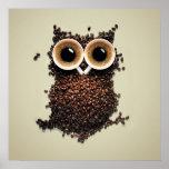 Búho del café impresiones