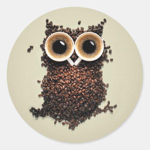 Búho del café pegatina redonda