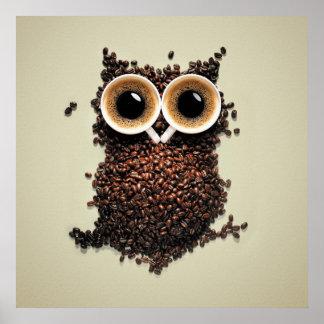 Búho del café póster