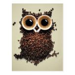Búho del café tarjetas postales