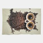 Búho del café toallas de mano