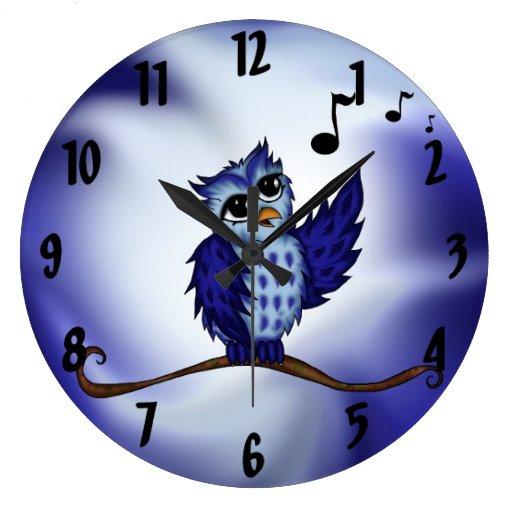 búho del canto reloj redondo grande