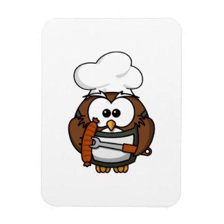 Búho del cocinero listo para asar a la parilla imán flexible