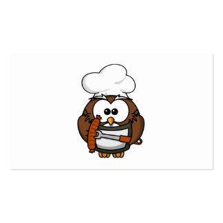 Búho del cocinero listo para asar a la parilla tarjetas de visita