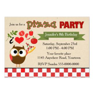 """Búho del cumpleaños del fiesta de la pizza invitación 5"""" x 7"""""""