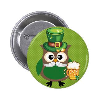 Búho del día de St Patrick Pins