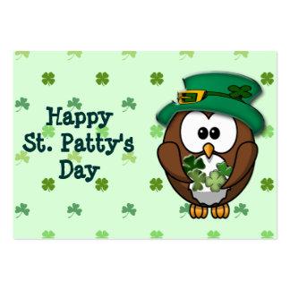 Búho del día de St Patrick Tarjeta De Visita