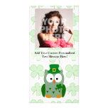 Búho del día de St Patrick Tarjetas Con Fotos Personalizadas
