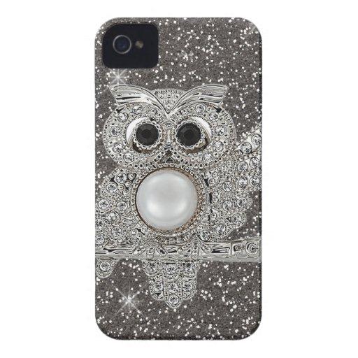 búho del diamante Case-Mate iPhone 4 cárcasas
