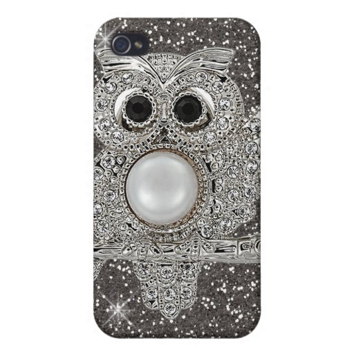 búho del diamante iPhone 4/4S carcasa
