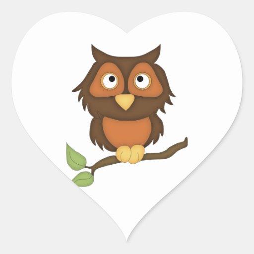 Búho del dibujo animado (caoba) pegatina corazón