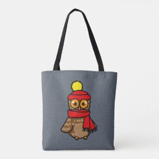búho del dibujo animado con el gorra y la bufanda bolsa de tela