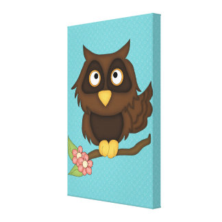 Búho del dibujo animado (marrón) impresión en lona estirada